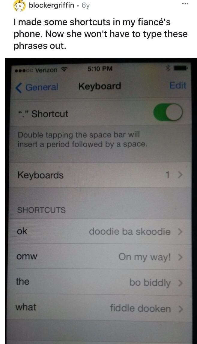 """An iPhone that has been set up to change the words """"ok"""" to """"doodie ba skoodie,"""" """"the"""" to """"bo biddly,"""" and """"what"""" to """"fiddle dooken"""""""
