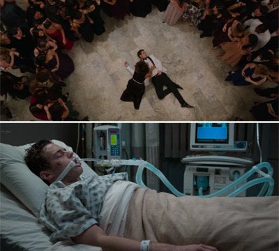 Justin Foley unconscious on the the dance floor at prom and then in a hospital bed