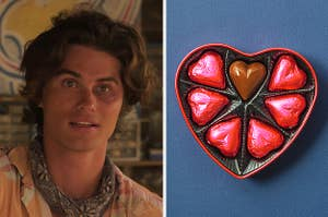 An image of John B from Outer Banks next to an image of a heart-shaped box full of chocolates