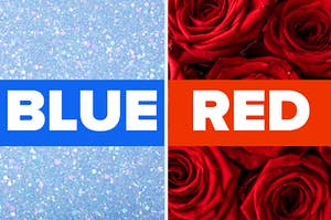 An image of blue glitter and red roses
