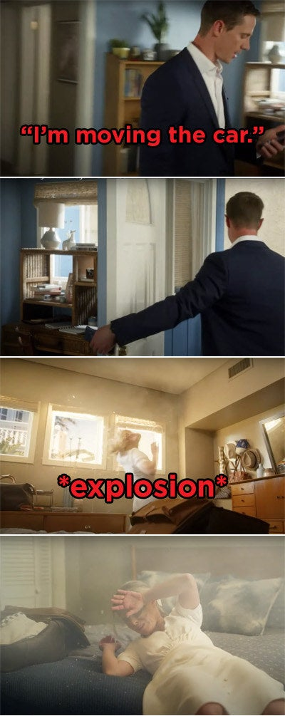 Logan stepping outside the house and then a sudden explosion