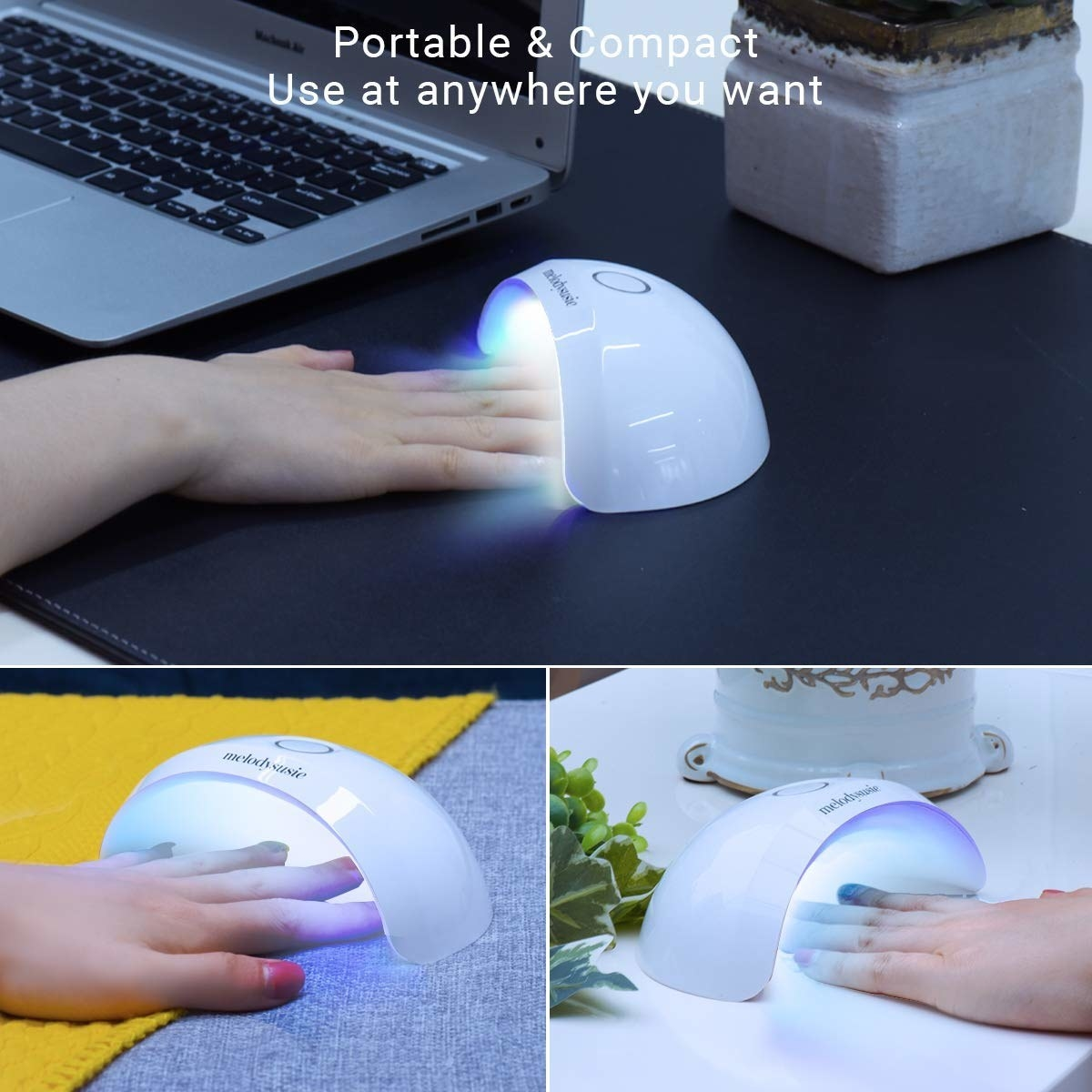 A collage of photos showing the mini LED nail light being used in multiple locations.