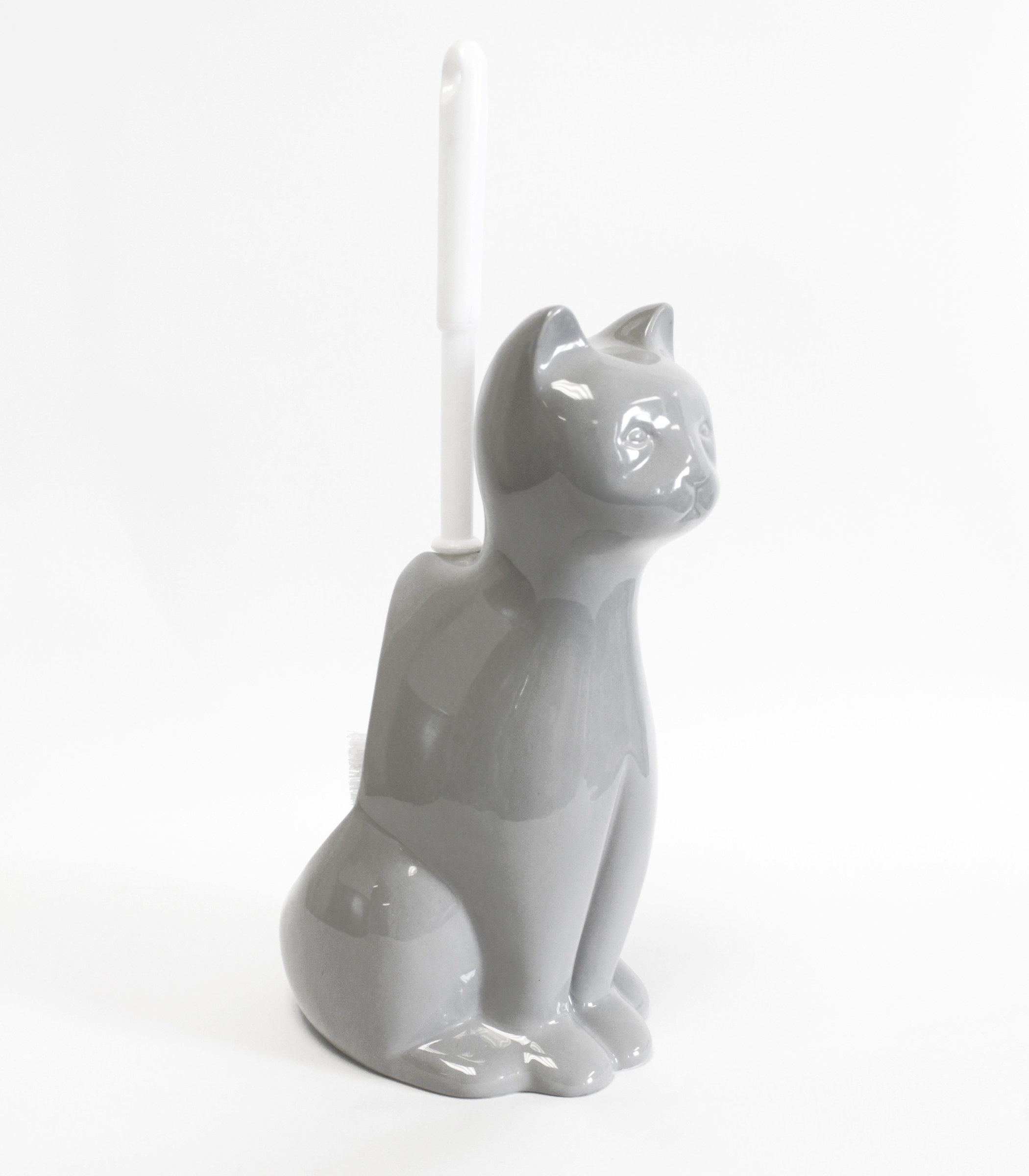 The grey porcelain cat-shaped toilet brush holder