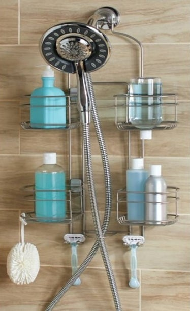 The metal shower caddy with multiple shelves and razor holders