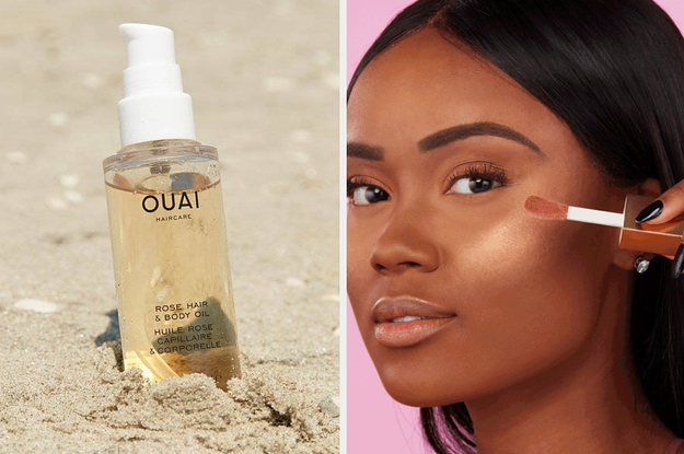 split thumbnail of Ouai hair oil, model putting on golden highlighter on cheekbones