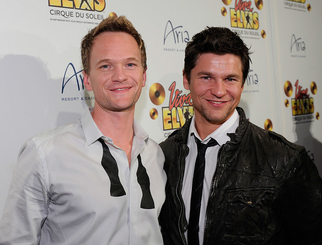 """Neil Patrick Harris and David Burtka on the red carpet for Cirque du Soleil's """"Viva ELVIS"""" production in Las Vegas, in February 2010."""