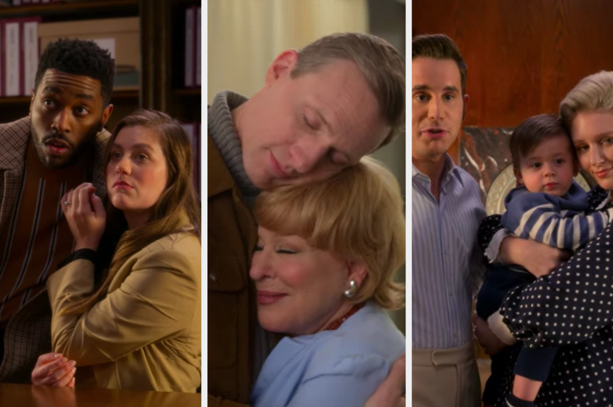 A split image from The Politician showing 3 images - 1 is of Macafee and her new boyfriend who are embracing, another is of Hadassah and William hugging, and the last image shows Payton with Alice and their child hugging