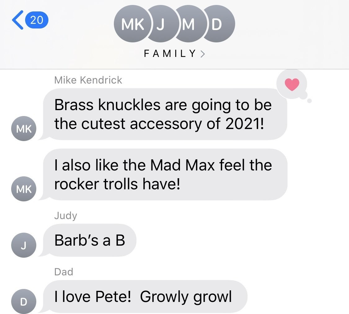 Anna Kendrick and her family text about the Trolls in Trolls: World Tour.