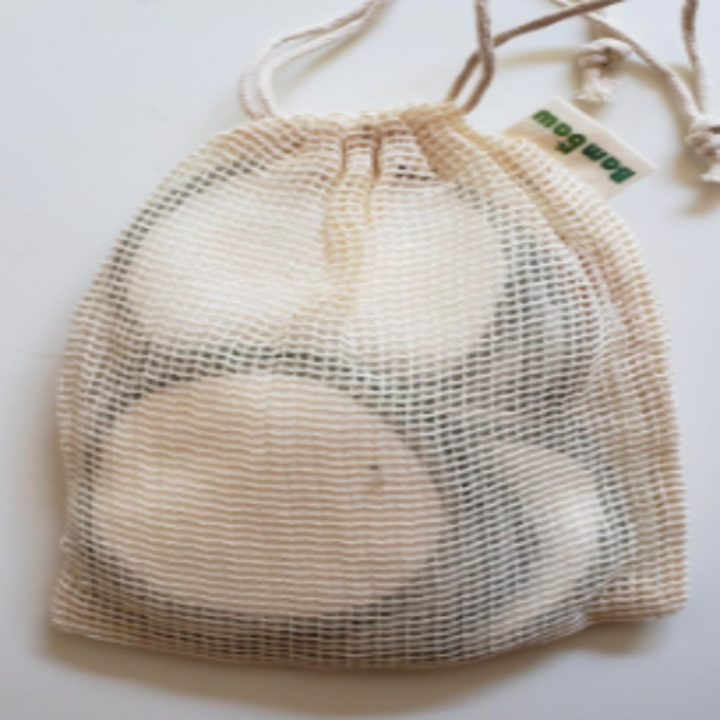 Reviewer photo showing the reusable makeup remover pads in the included mesh baggy that makes washing them a breeze