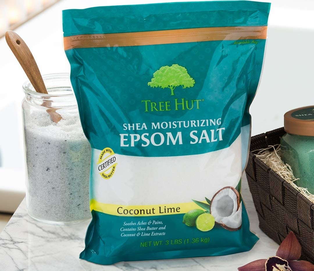 A bag of the Tree Hut Shea Moisturizing Epsom Salt.