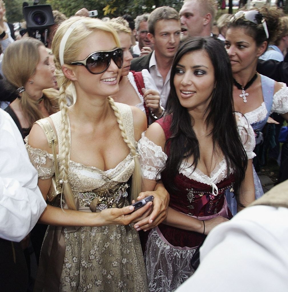 Paris and Kim in traditional German outfits
