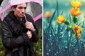 Klaus is smoking a cigarette while holding an umbrella with flowers in the rain on the right