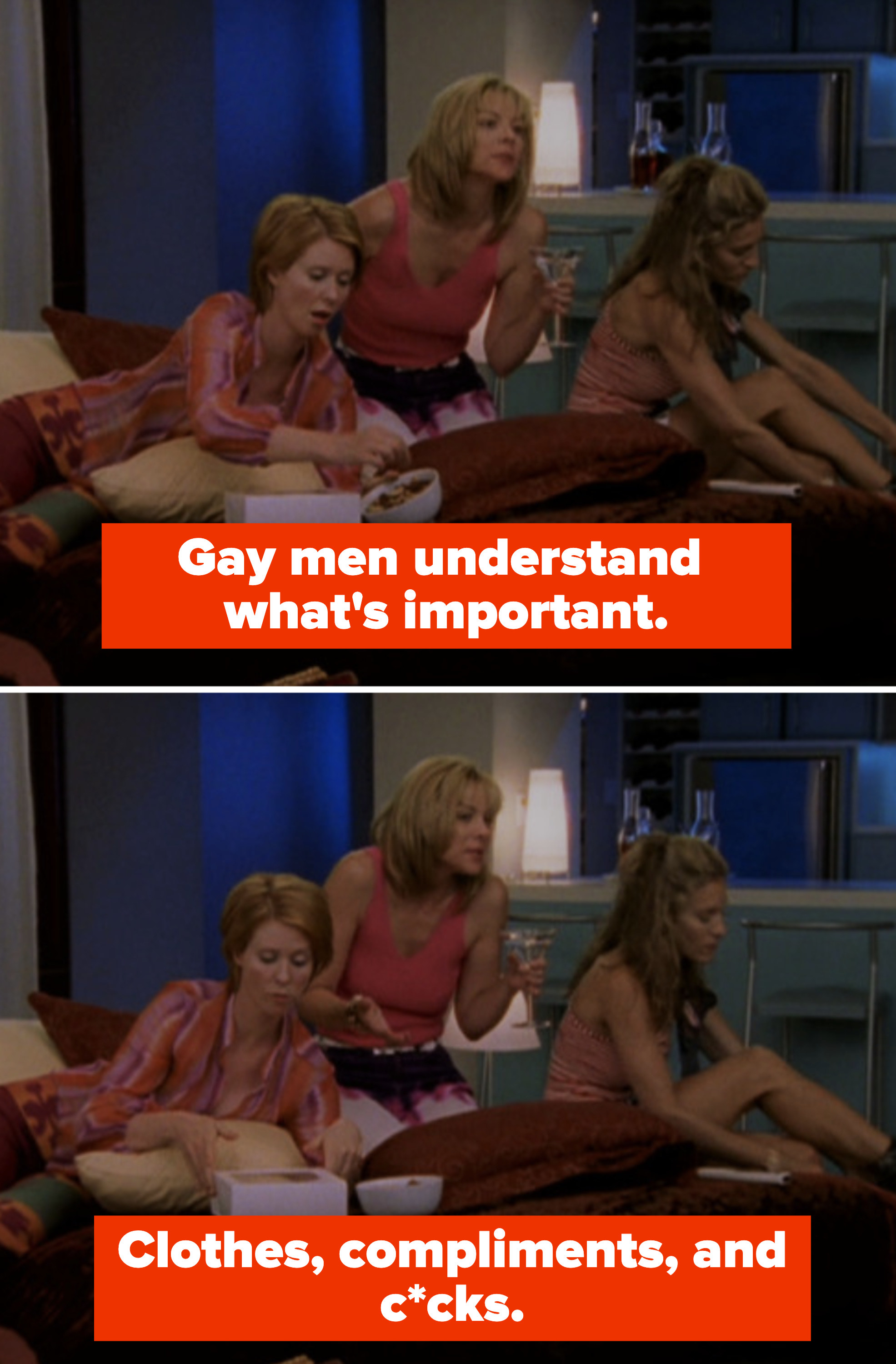 """Samantha in her apartment telling Carrie and Miranda: """"Gay men understand what's important. Clothes, compliments, and c*cks"""""""