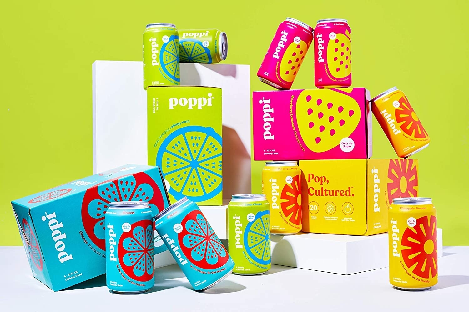 various cans of sparkling prebiotic soda in flavors like strawberry lemonade and lime ginger
