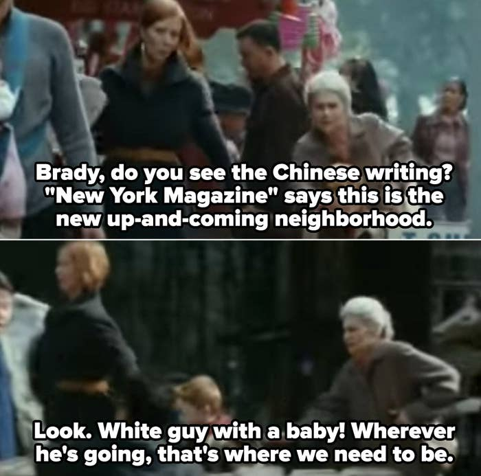 """Miranda walking in Brooklyn, telling Brady: """"Look. White guy with a baby! Wherever he's going, that's where we need to be"""""""