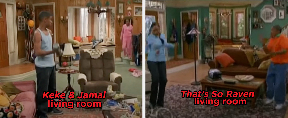 """The living room set of """"Keke & Jamal"""" and nearly identical living room set of """"That's So Raven"""""""