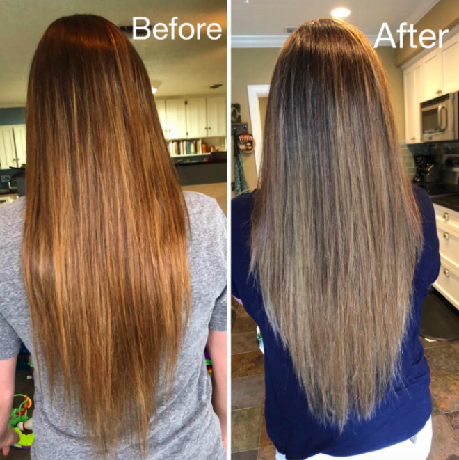 Reviewer photo showing before-and-after using the CreaClip tool to trim their hair