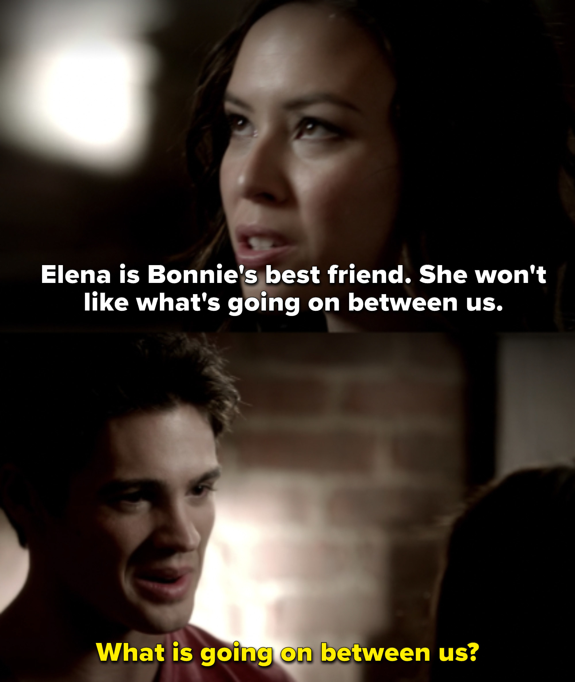 """Anna says Elena is Bonnie's best friend and won't like what's going on between them, and Jeremy responds """"What is going on between us?"""""""