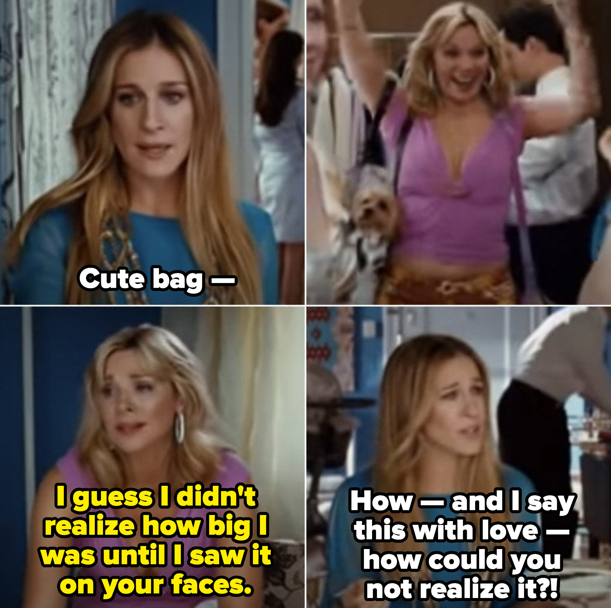 """Samantha: """"I guess I didn't realize how big I was until I saw it on your faces."""" Carrie: """"How -- and I say this with love -- how could you not realize it?!"""""""