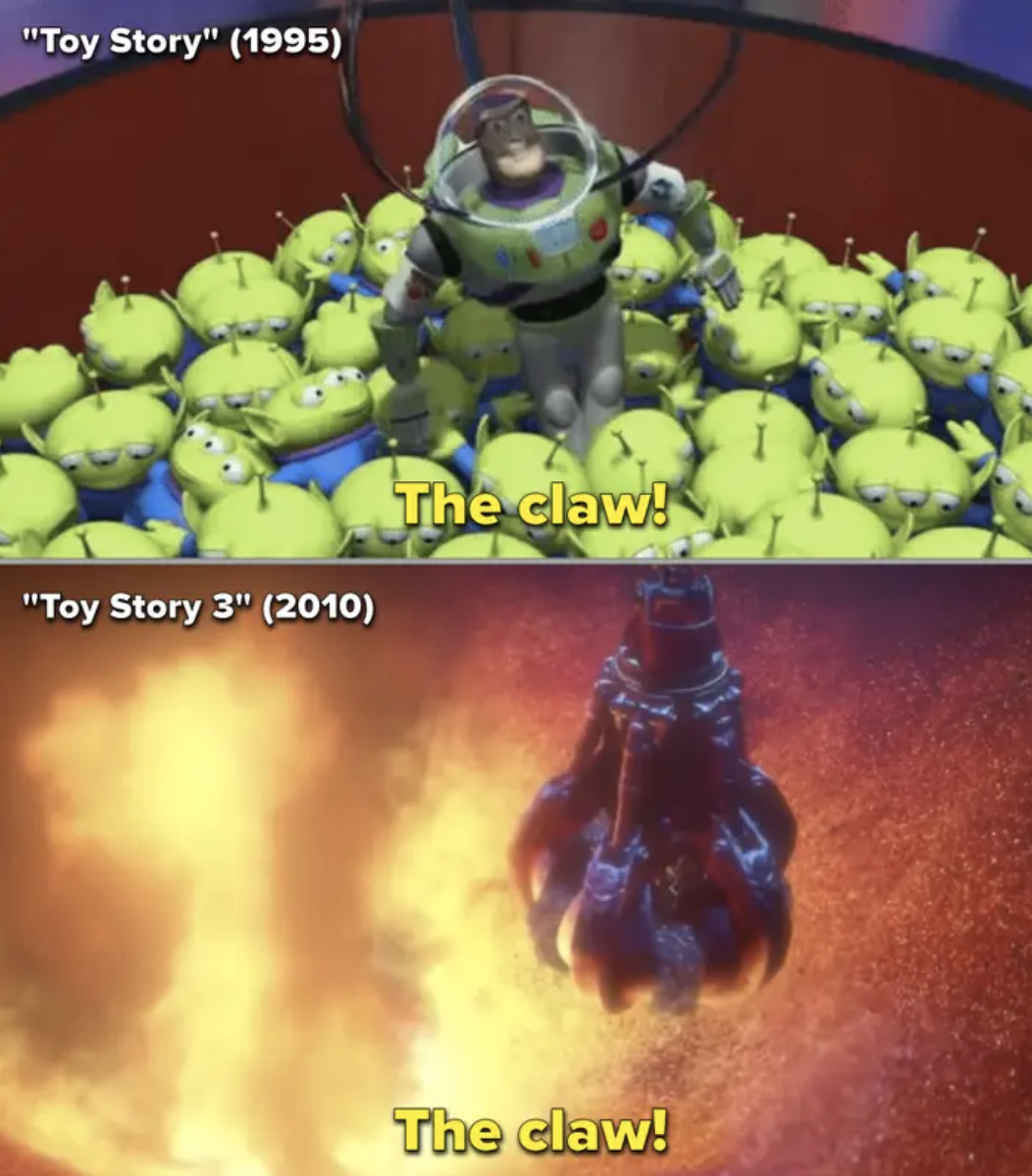 Side-by-side of the toy aliens using the claw in the first movie vs. in the third movie