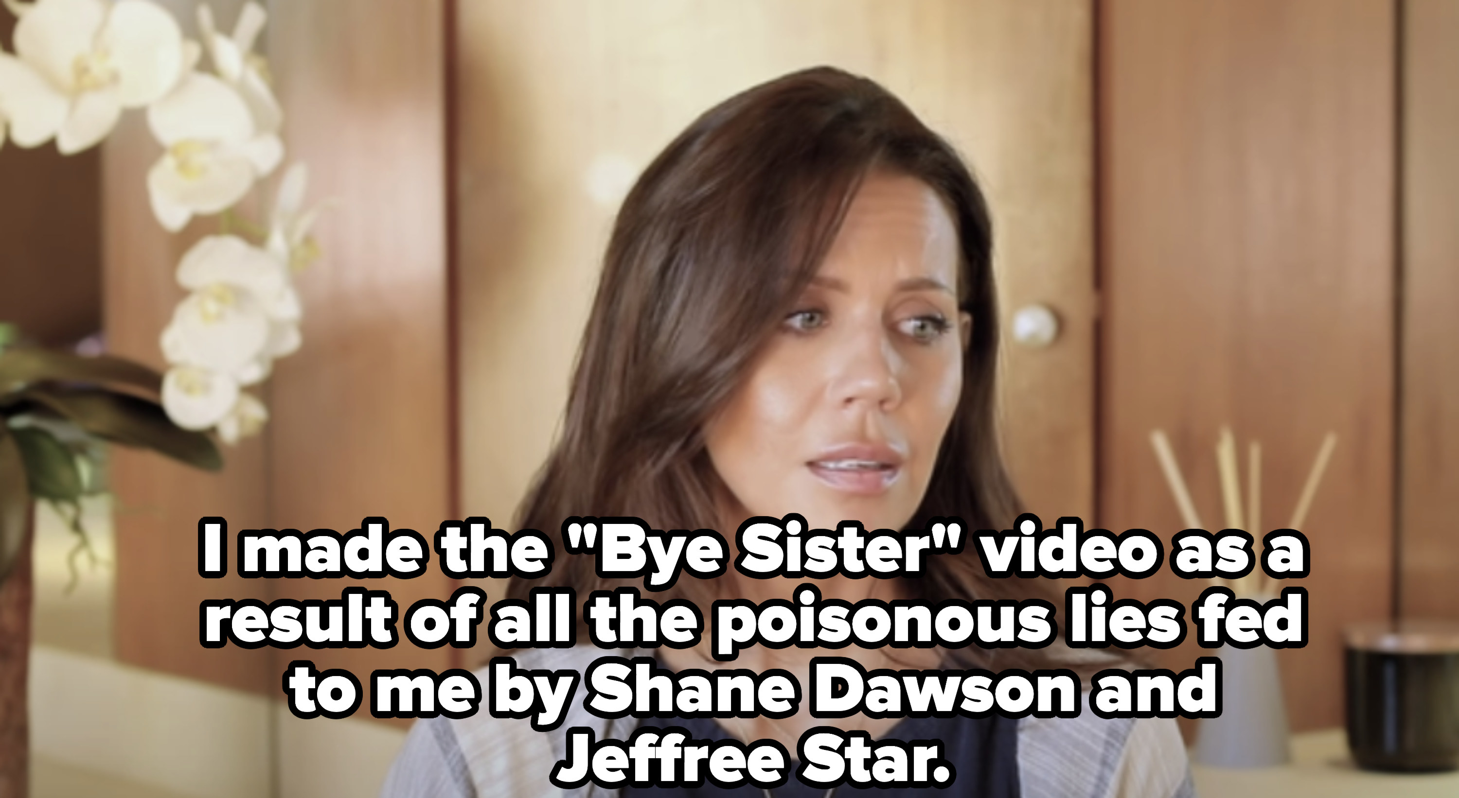 """She said, """"I made the 'Bye Sister' video as a result of all the poisonous lies fed to me by Shane Dawson and Jeffree Star."""""""