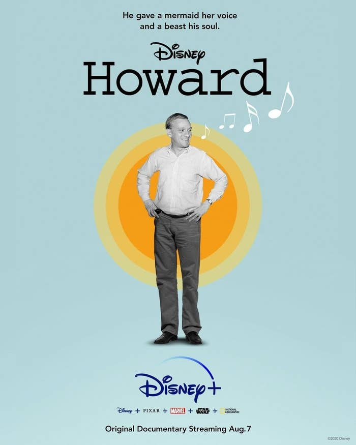 the promotional poster for Howard with Howard Ashman in black and white