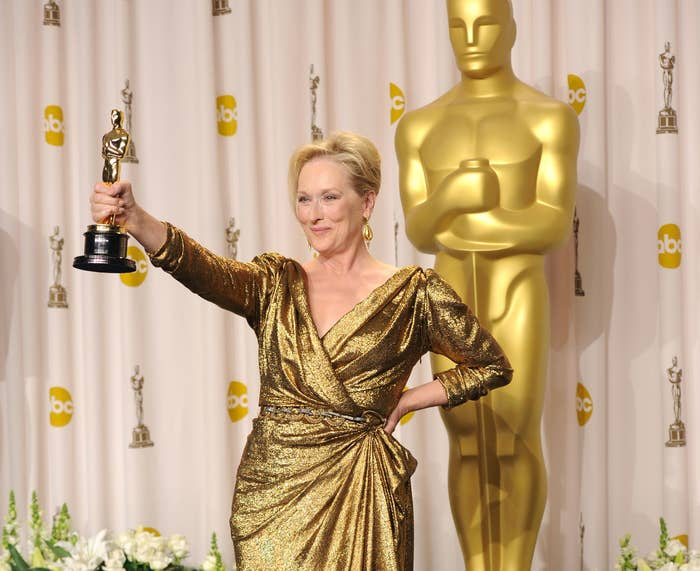 """Meryl Streep holding her Oscar after winning for """"The Iron Lady"""""""