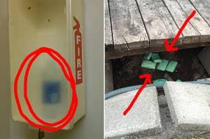 一瓶水在一个灭火器箱旁边肥皂的几个酒吧门廊下
