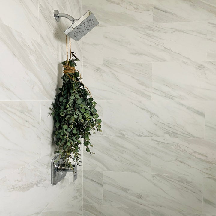 Eucalyptus leaves hanging from a shower head