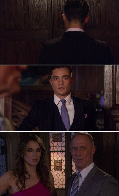 Chuck opening a door and finding his father Bart talking to a woman