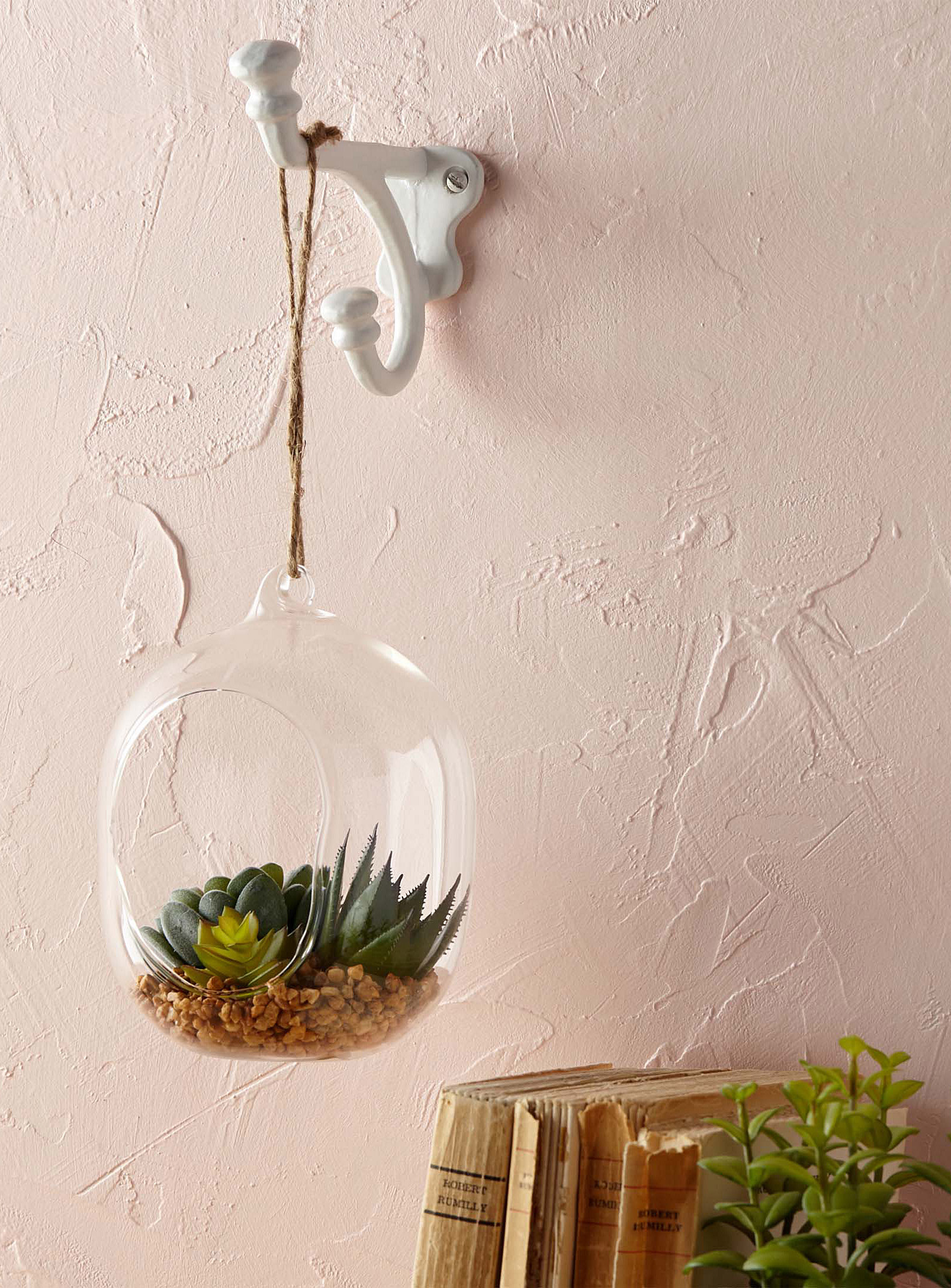 A round glass planter hanging on a hook in the wall