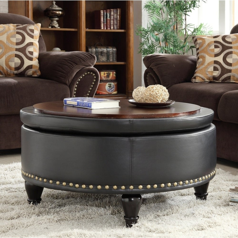 The round storage ottoman with a leather exterior