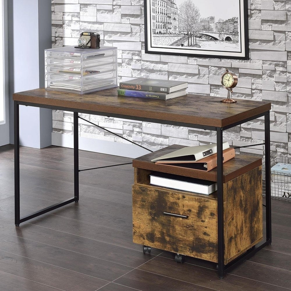A simple rectangular wooden desk with a black metal base