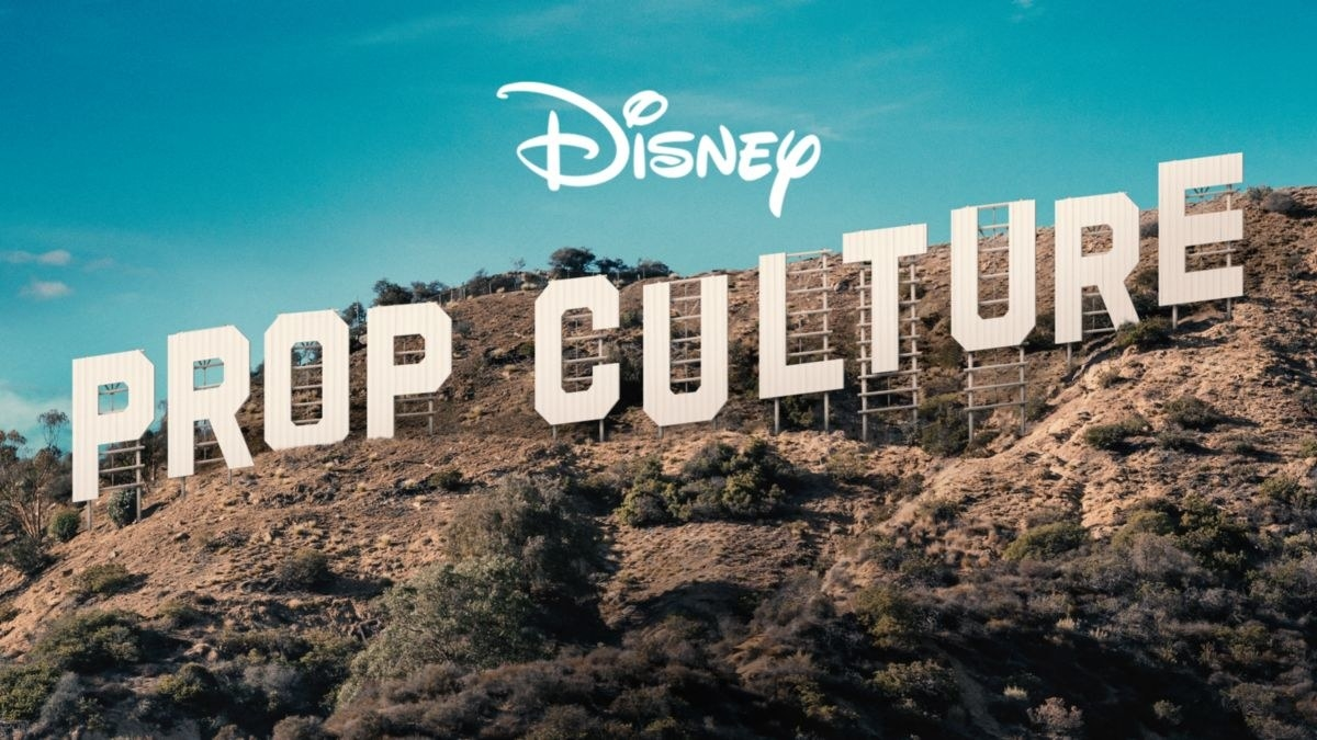"""the Hollywood sign but it says """"Prop Culture"""""""