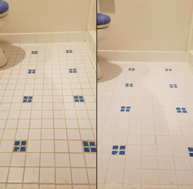 Reviewer photo showing before-and-after using the Grout Pen on their bathroom floor. The stains on the grout are visibly gone and entire tile flooring looks considerably cleaner and newer.