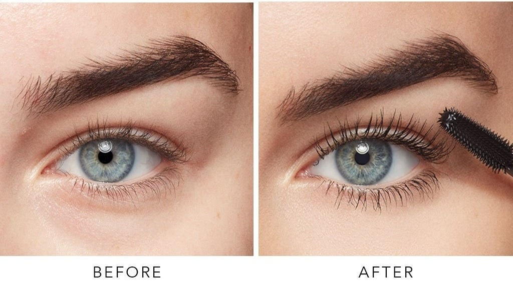 Model's before-and-after of their lashes looking much longer and voluminous after using the mascara
