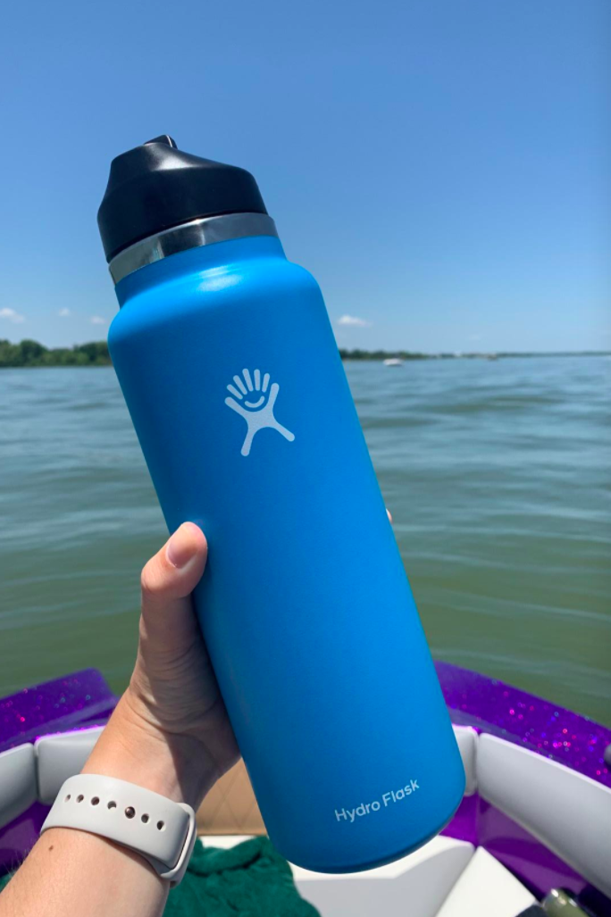 Reviewer photo of HydroFlask bottle in blue