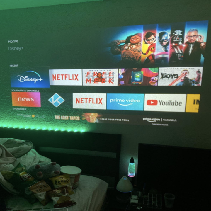 a reviewer using the projector on the wall