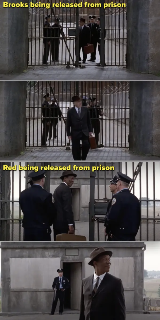 Brooks leaving the prison but the camera faces him/the gate, vs. Red leaving prison and the camera faces an open area