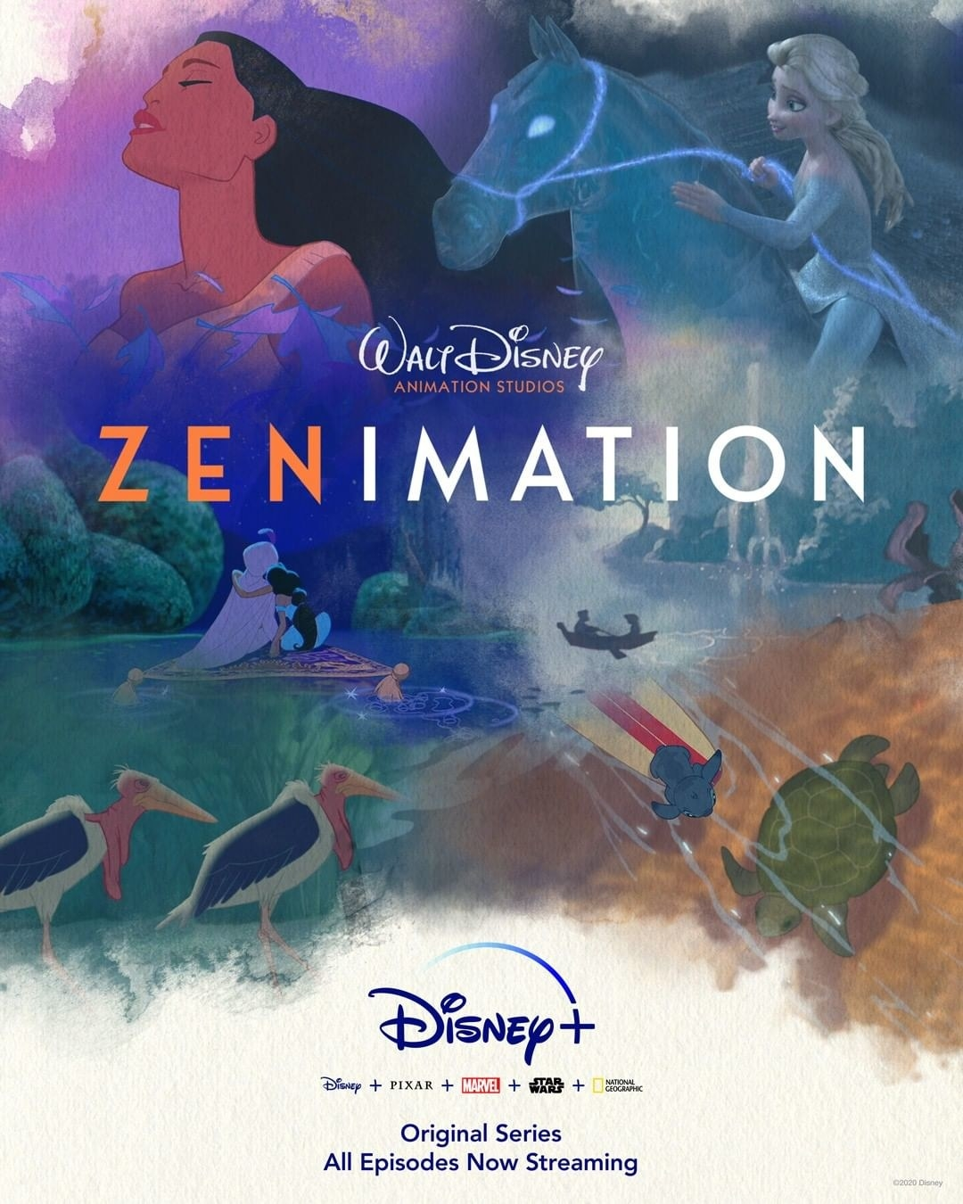 various soothing scenes from disney films making up the zenimation poster