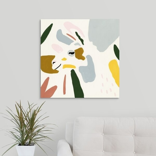A square canvas with an abstract profile of a llama's face