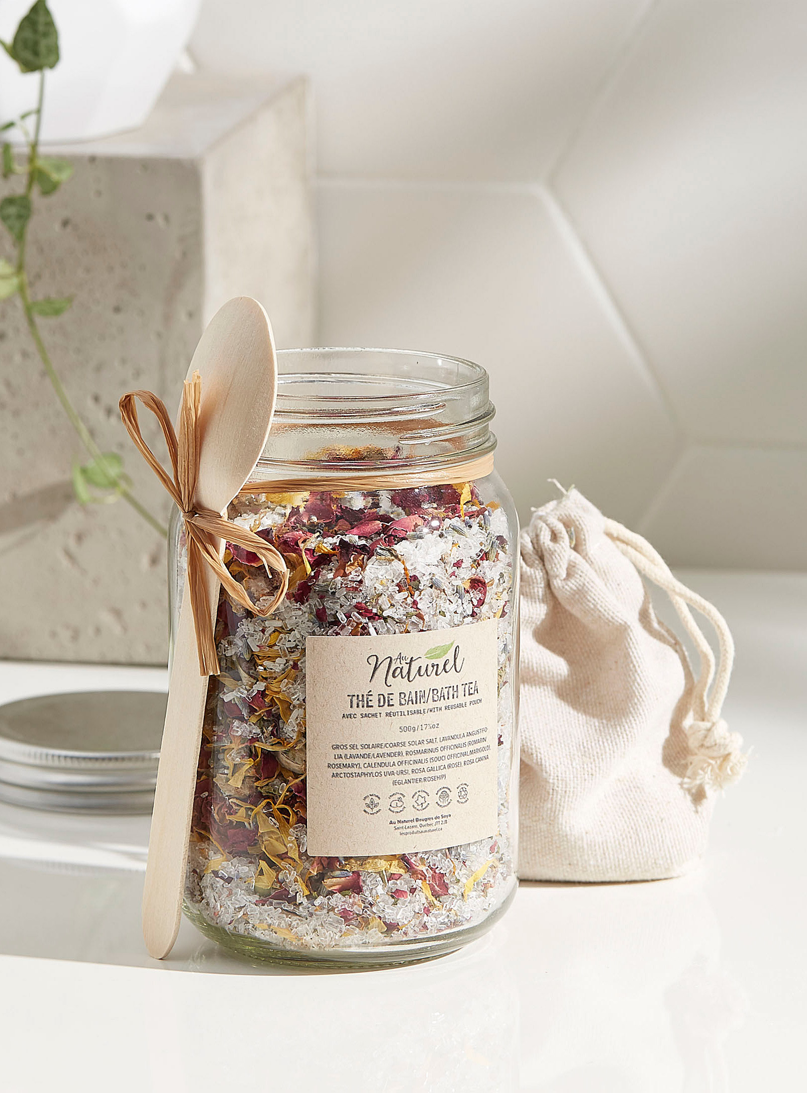 A jar full of dried flowers
