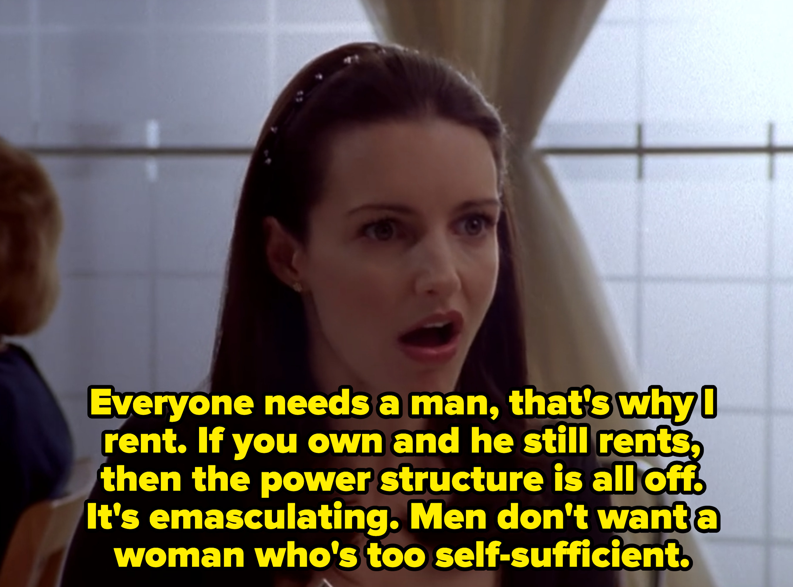 """Charlotte to Miranda: """"If you own and he rents, then the power structure is all off. It's emasculating. Men don't want a woman who's too self-sufficient"""""""