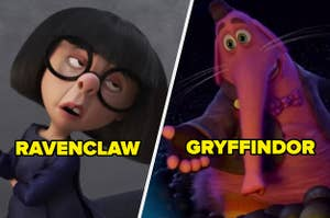 Edna Mode labeled Ravenclaw and Bing Bong labeled Gryffindor