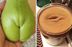 A pear that looks like it has legs and a vulva and a jar of peanut butter with a hole