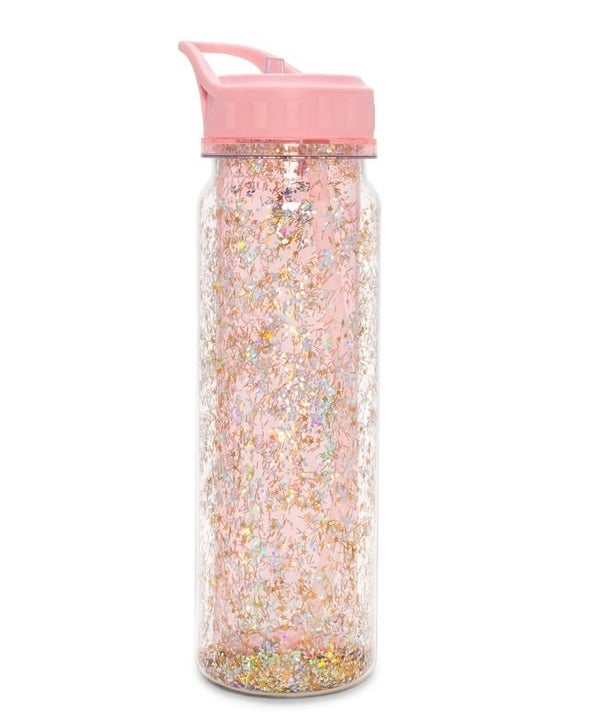 "Product photo of the Ban.do ""glitter bomb"" water bottle—a pink colored bottle covered with glitter."