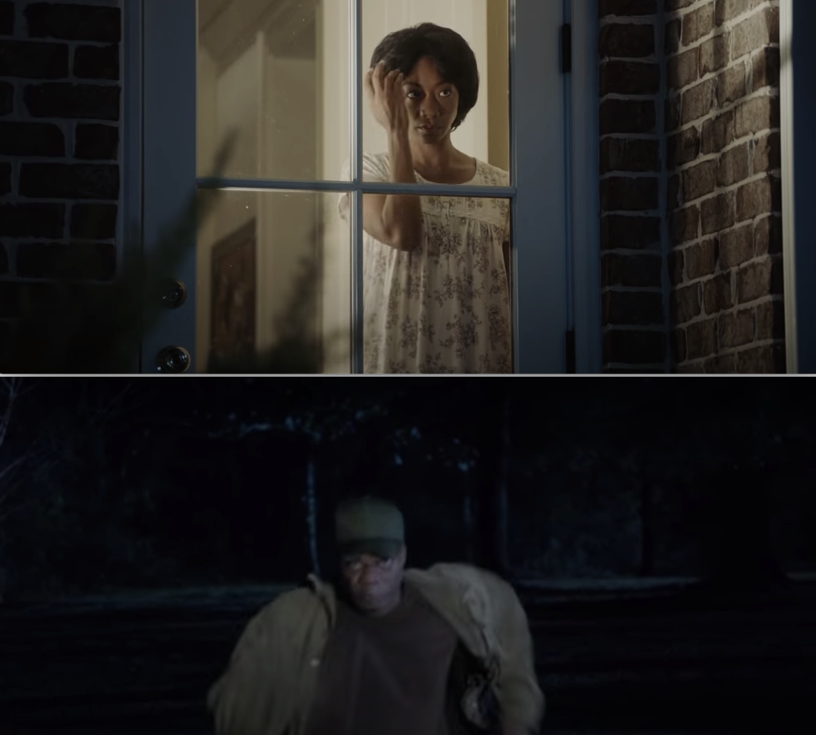 Georgina fixing her hair in the window, and Walter running at Chris with his hat on