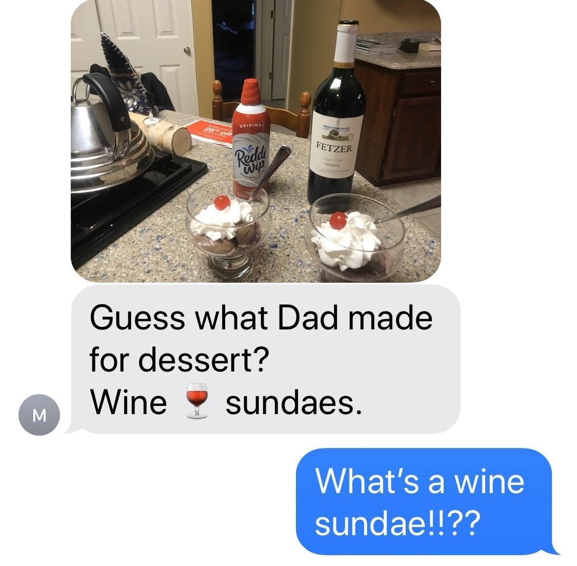 Jenna Fischer's mom texts her a picture of wine sundaes that Jenna's dad made