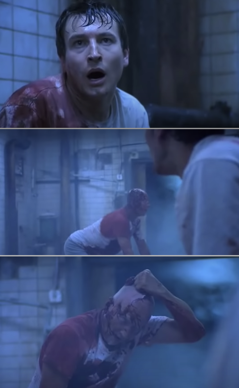 Jigsaw waking up and taking off his mask, revealing he's not actually a victim