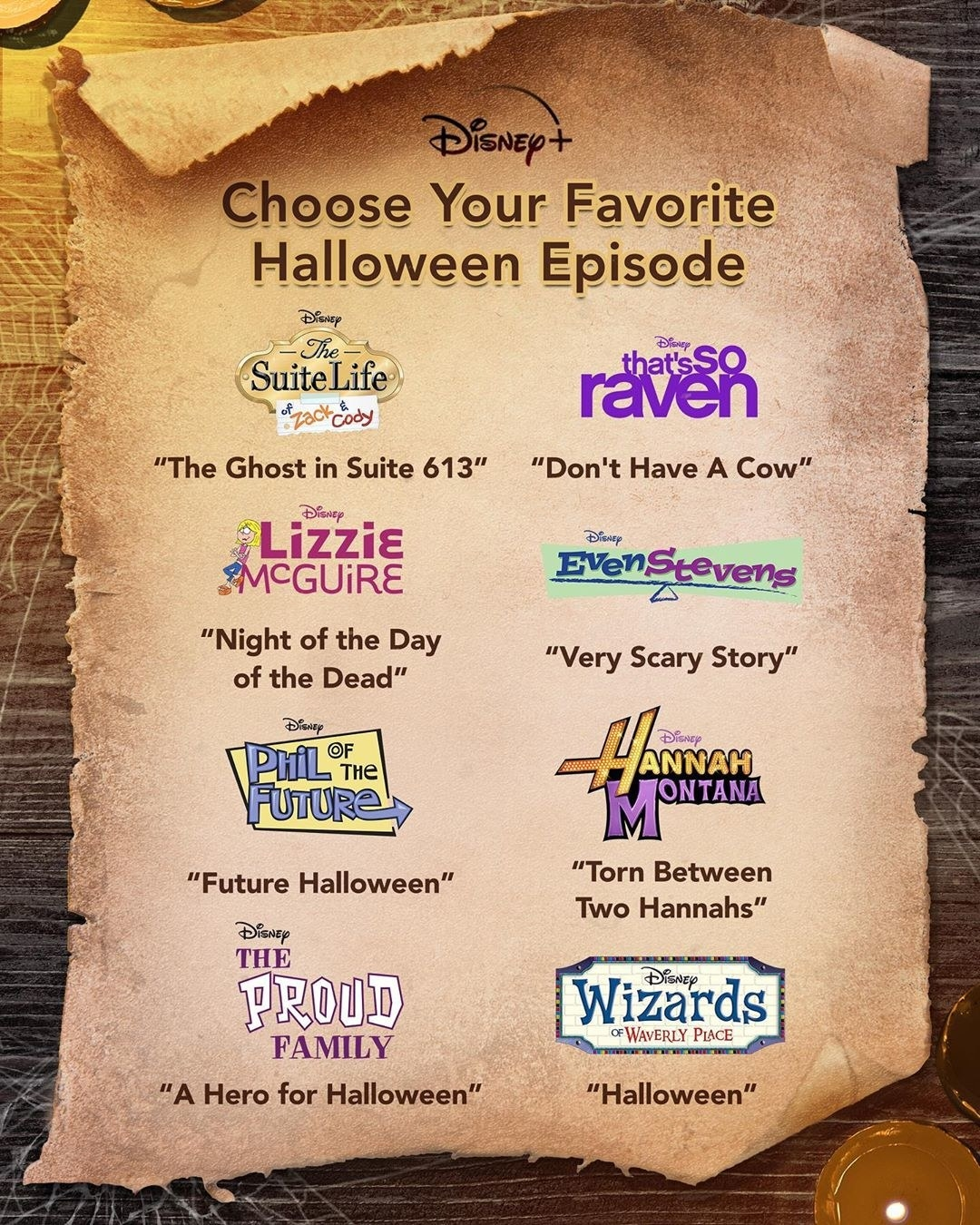 a list of the various halloween episodes from popular disney channel shows